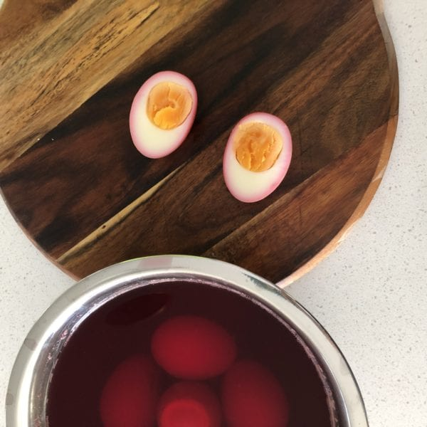 Beetroot-dyed deviled eggs