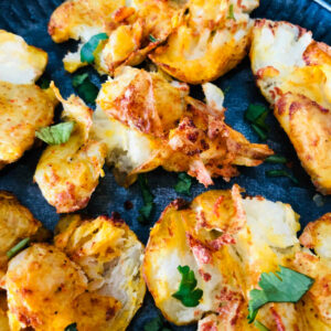 Masala Smashed Potatoes (Oven, air fryer, and stovetop method)